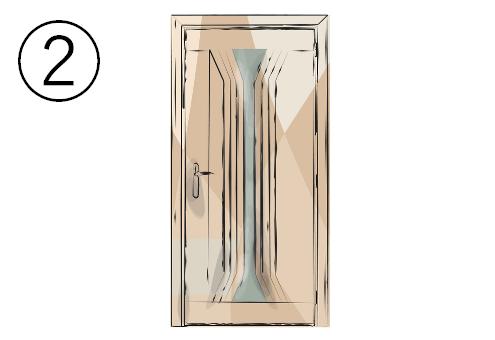 砂時計型の細長い窓のついたドア