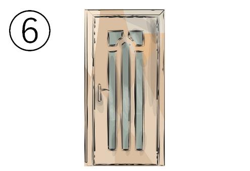縦に細長い窓がついたドア