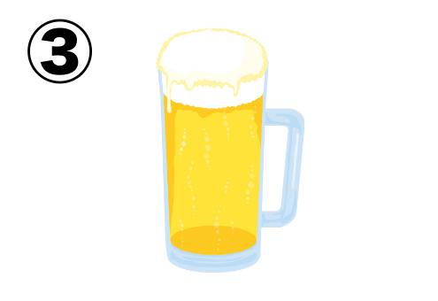 縁無しの淡い色合いのビールイラスト