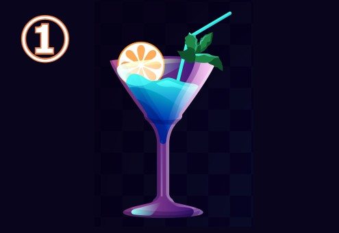 シャンパングラスに入った、スライスオレンジ、ミント、ストロー付きの青いドリンク
