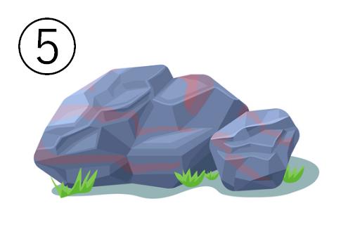 ゴツゴツした、くすみ青と赤の岩