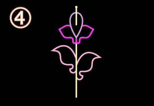 ピンク花びら、薄ピンク葉っぱのランのような花