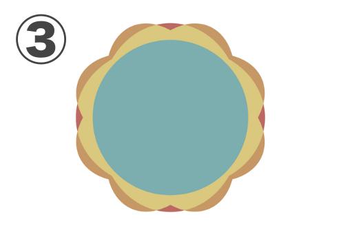 オークルとオレンジの細い縁、黄色ライン、中心エメラルドのクローバーのような形のフレーム