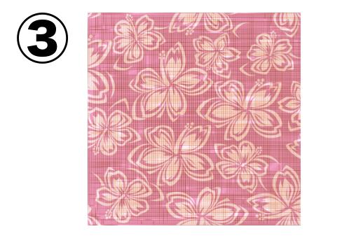 ベージュの花柄の、ピンクのアロハ