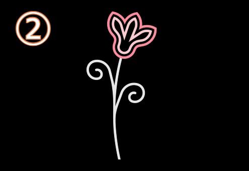 薄緑葉っぱの、コーラルと薄ピンクの二重の花