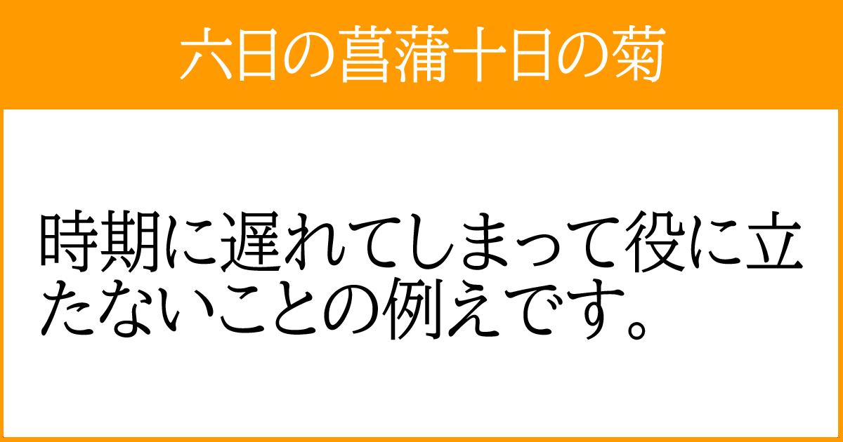 「六日の菖蒲十日の菊」の説明