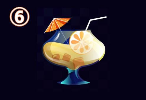 横長のグラスに入った、パラソルとスライスオレンジ付きの黄色いドリンク