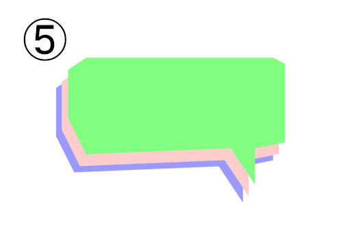 黄緑、薄ピンク、紫の、横長で角張った吹き出し
