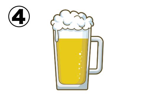 グレー線で縁取られた直線的なビールイラスト