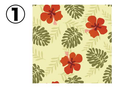 赤いハイビスカス、抹茶色の葉柄の、クリーム色のアロハ