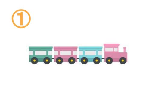 くすみカラーの緑、ピンク、水色の貨物列車