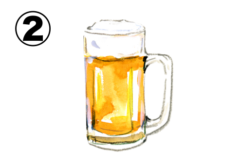 絵の具タッチなビールイラスト