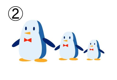 マトリョーシカのような3サイズのペンギン