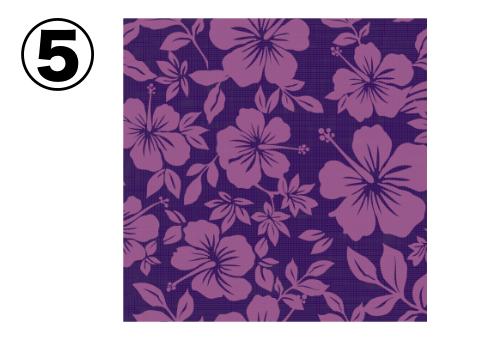 薄紫のハイビスカス柄の、紫のアロハ