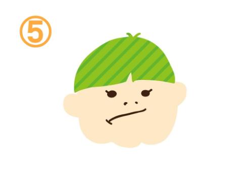 口を斜めに紡いだ黄緑髪の人