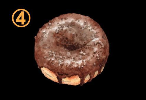 チョコが上全体にかかったドーナツ