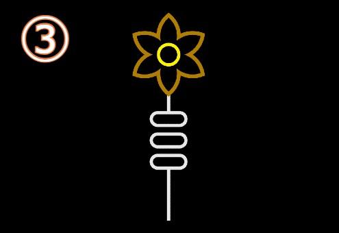 p−くる花びら、黄色がく、白い葉っぱの花