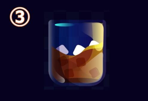 ウイスキーグラスに入った、茶色いドリンク