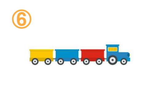 黄色、青、赤のシンプル貨物列車