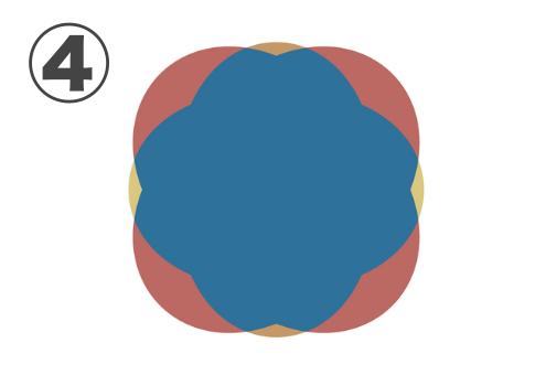 オークルとオレンジの丸みのある縁、中心青のふわっとしたフレーム