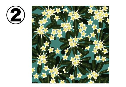 深緑の葉、細かい白い花柄の、緑のアロハ