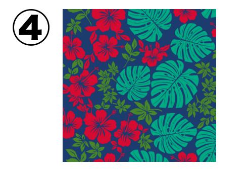赤いハイビスカス、緑、エメラルドの葉の柄の、ネイビーのアロハ