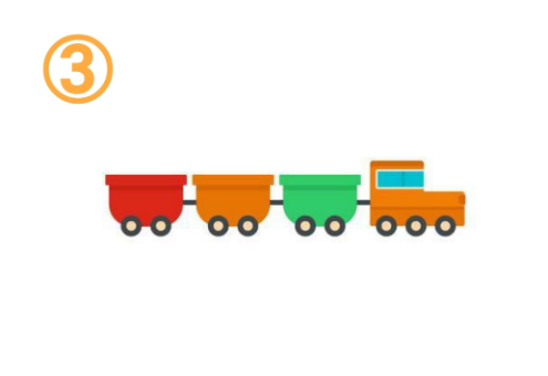 赤、オレンジ、緑の、丸みのある貨物列車